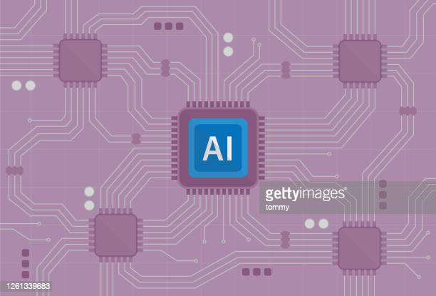 ai symbol on a chipset - artificial neural network stock illustrations