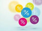 symbol percent discounts and blur icons