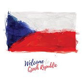 Symbol, poster, banner Czech Republic. Flag of Czech Republic with the decoration of the national color. Style watercolor drawing. Vector.