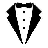 Symbol service dinner jacket bow Tuxedo concept Tux sign Butler gentleman idea Waiter suit icon black color vector illustration flat style image