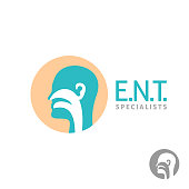 ENT symbol template. Head silhouette sign for ear, nose, throat do