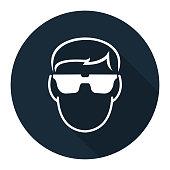 Symbol Wear Safety Glassed on black background