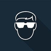 Symbol Wear Safety Glassed on black background,Vector illustration