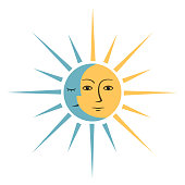 Symbol with sun and month on white background.