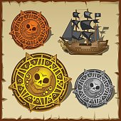 Symbolic set of pirate attributes, seal and ship