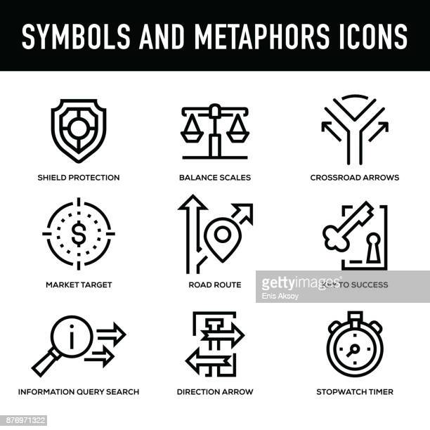 symbols and metaphors icon set - thick line series - thick stock illustrations