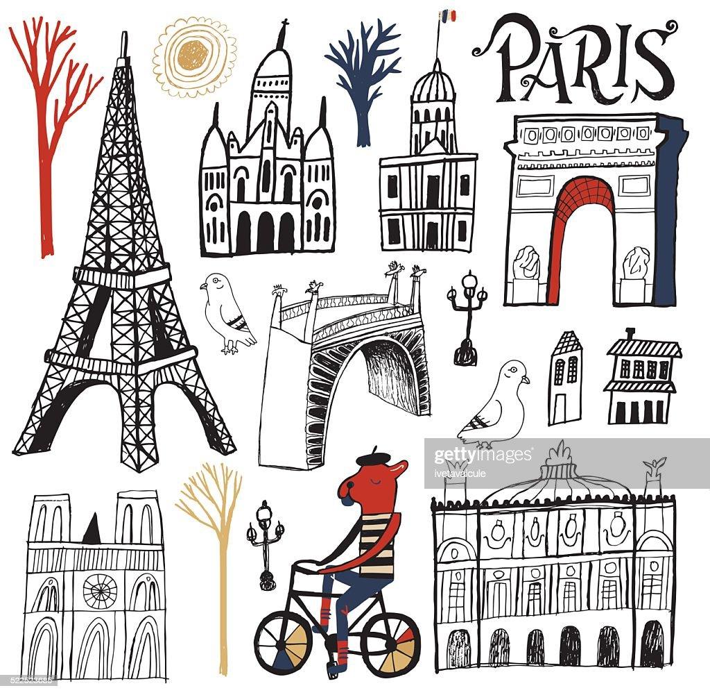 Paris Illustration: Symbols Buildings And Tourism Landmarks Of Paris France
