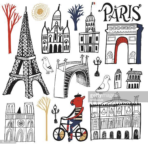 Symbols, Buildings and Tourism Landmarks of Paris France Set