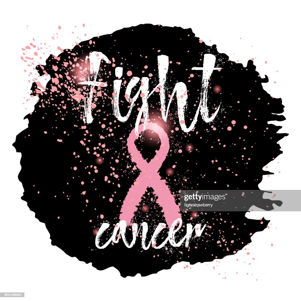 Symbols Of Breast Cancer Awareness Pink Ribbon In Brush Strokes