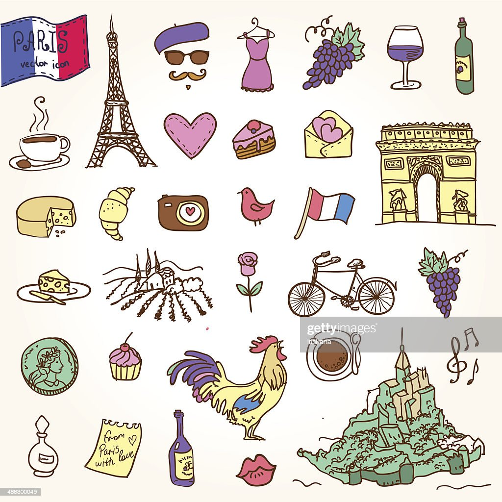 Symbols Of France As Funky Doodles Vector Art Getty Images