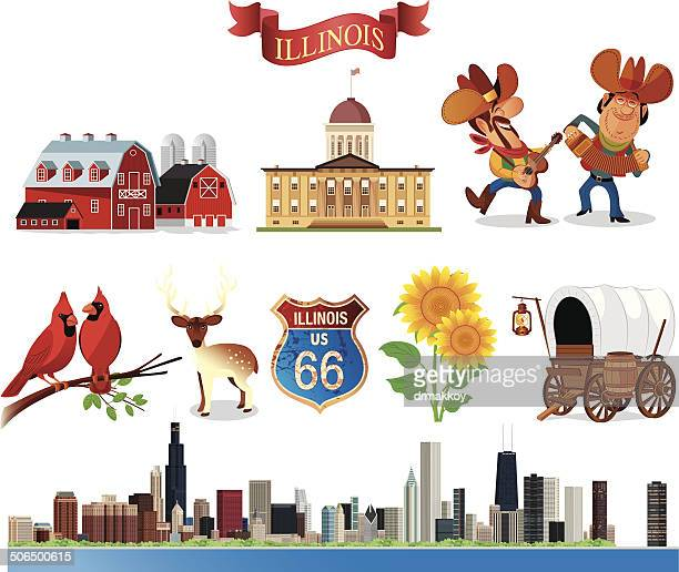 symbols of illinois - cardinal bird stock illustrations, clip art, cartoons, & icons