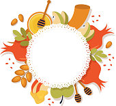 symbols of Jewish holiday Rosh Hashana , New Year. vector template with place for your text