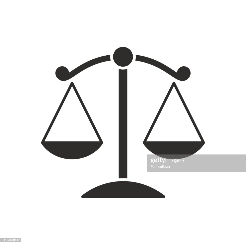 Symbols of justice on white background