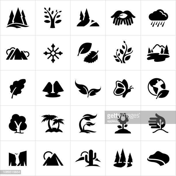 symbols of nature icons - black and white nature stock illustrations
