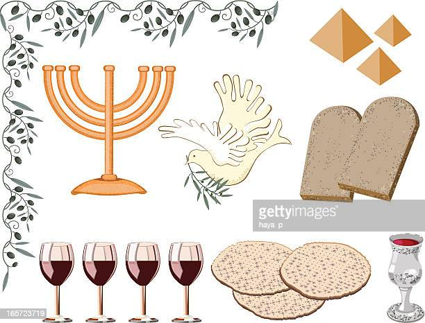 symbols of passover - passover stock illustrations