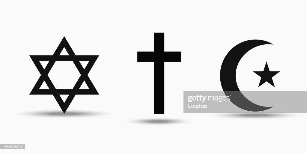 Symbols of the three world religions - Judaism, Christianity and Islam