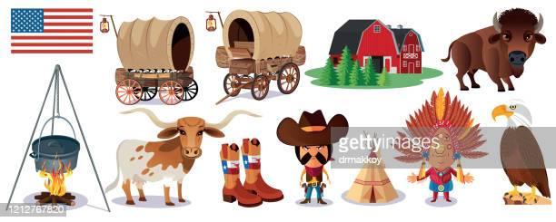 アメリカ、野生の西のシンボル - 働く動物点のイラスト素材/クリップアート素材/マンガ素材/アイコン素材