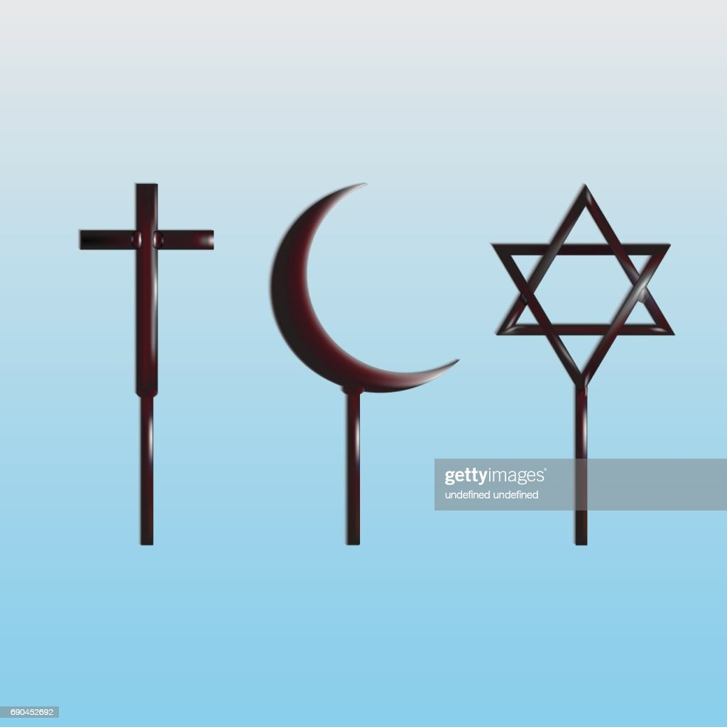 Symboles des religions du monde - christianisme, Islam et judaïsme : Illustration