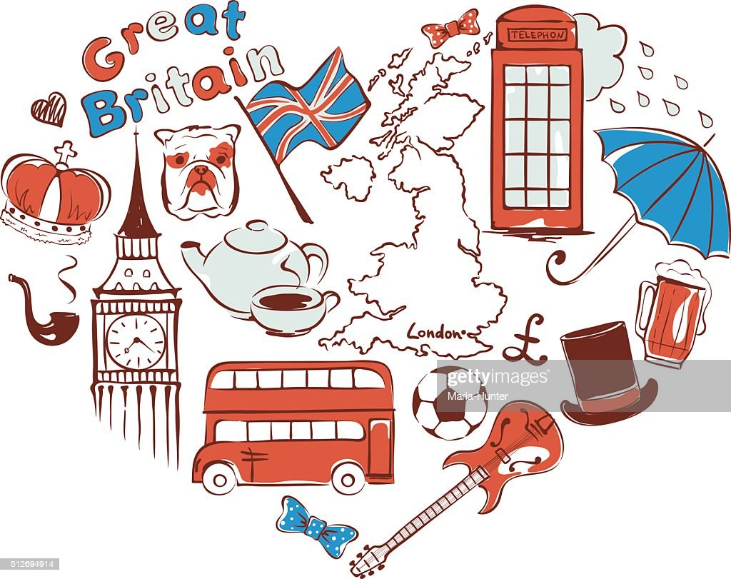 Symbols of united kingdom in the form of heart