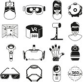 Symbols of virtual reality. Game panoramic in 3d rotation. Vr glasses and other tools. Vector monochrome illustrations