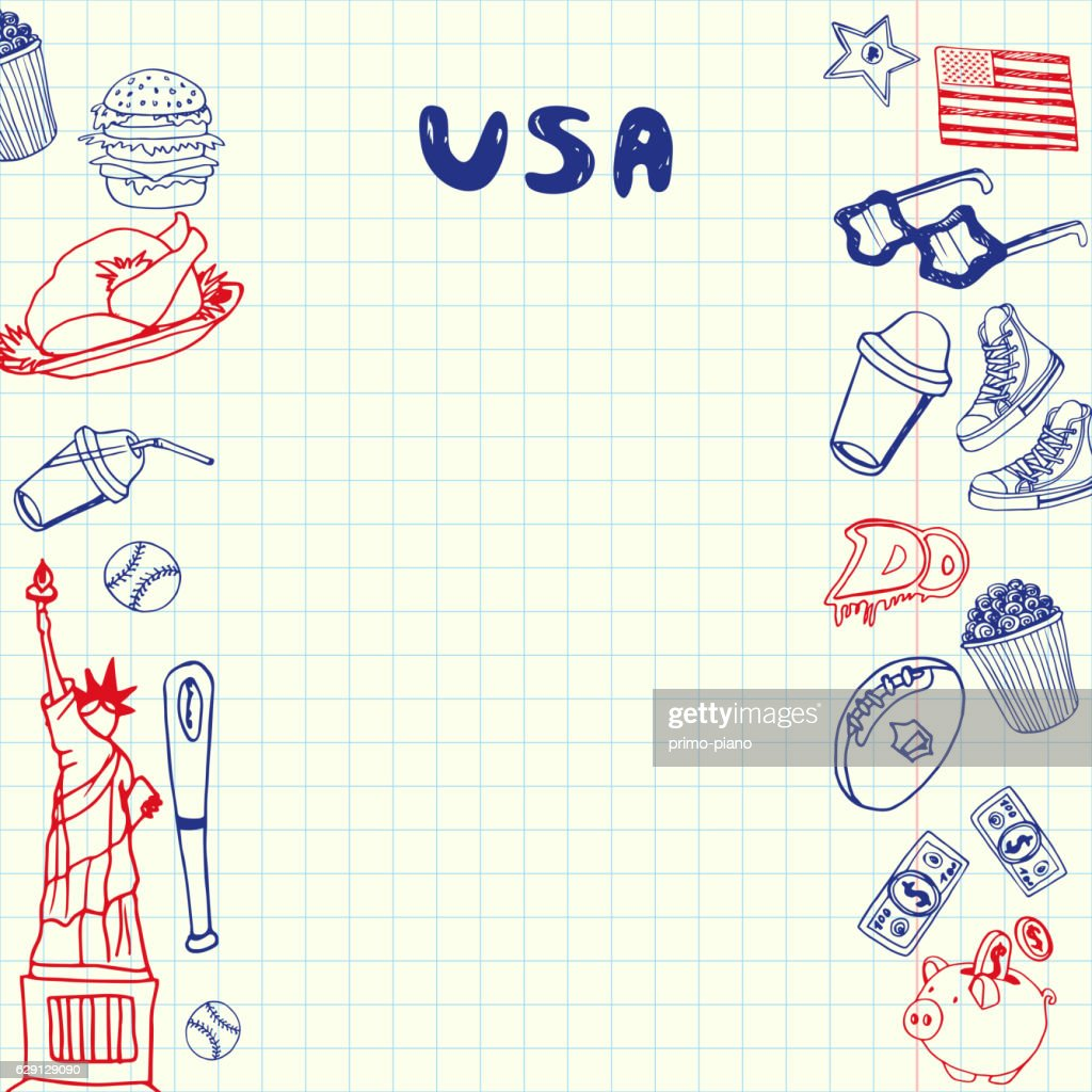 USA Symbols Pen Drawn Doodles Vector Collection