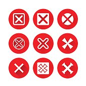 X Symbols, Rejected Mark Icons on Red Circle Background