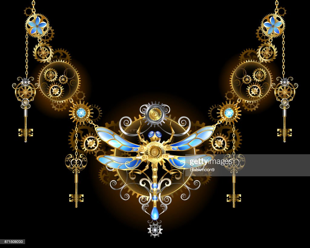 Symmetric ornament with dragonfly