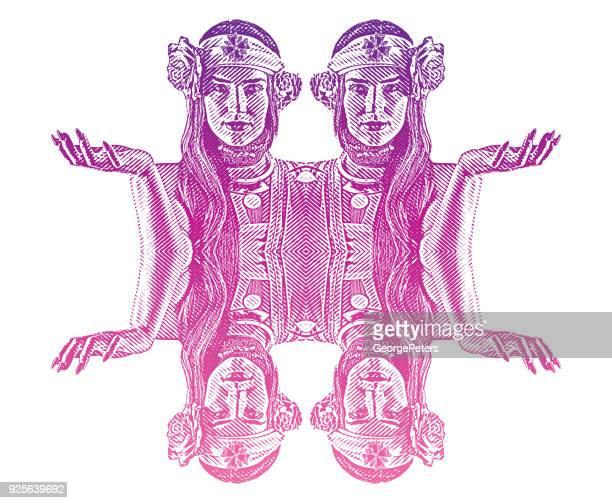 symmetrical, reflected engraving of a spiritual woman prayer and meditation - goddess stock illustrations, clip art, cartoons, & icons