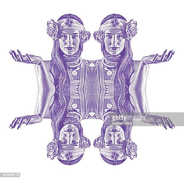 Symmetrical, reflected engraving of a Spiritual woman prayer and meditation