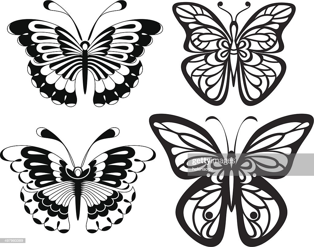Symmetrical silhouettes butterflies with open wings tracery.