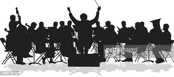 ilustraciones, imágenes clip art, dibujos animados e iconos de stock de orquesta sinfónica de silhouette - director de orquesta
