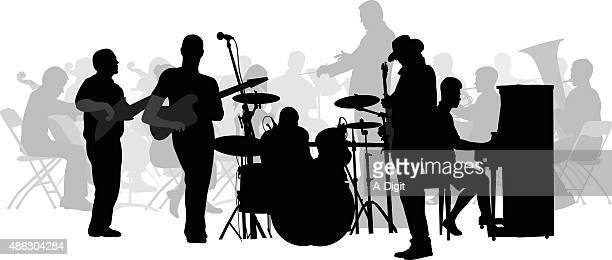 symphony and rock collide silhouette - musician stock illustrations, clip art, cartoons, & icons