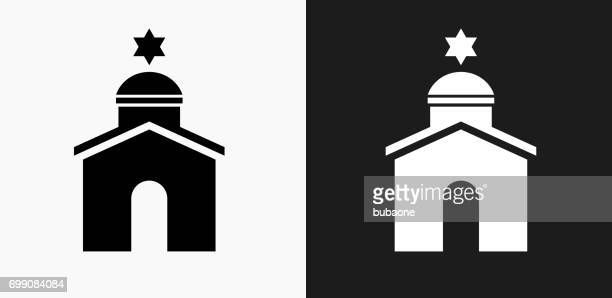 Synagogue Icon on Black and White Vector Backgrounds