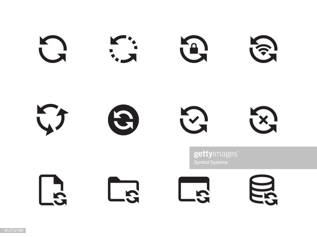 Synchronization icons on white background. Vector illustration