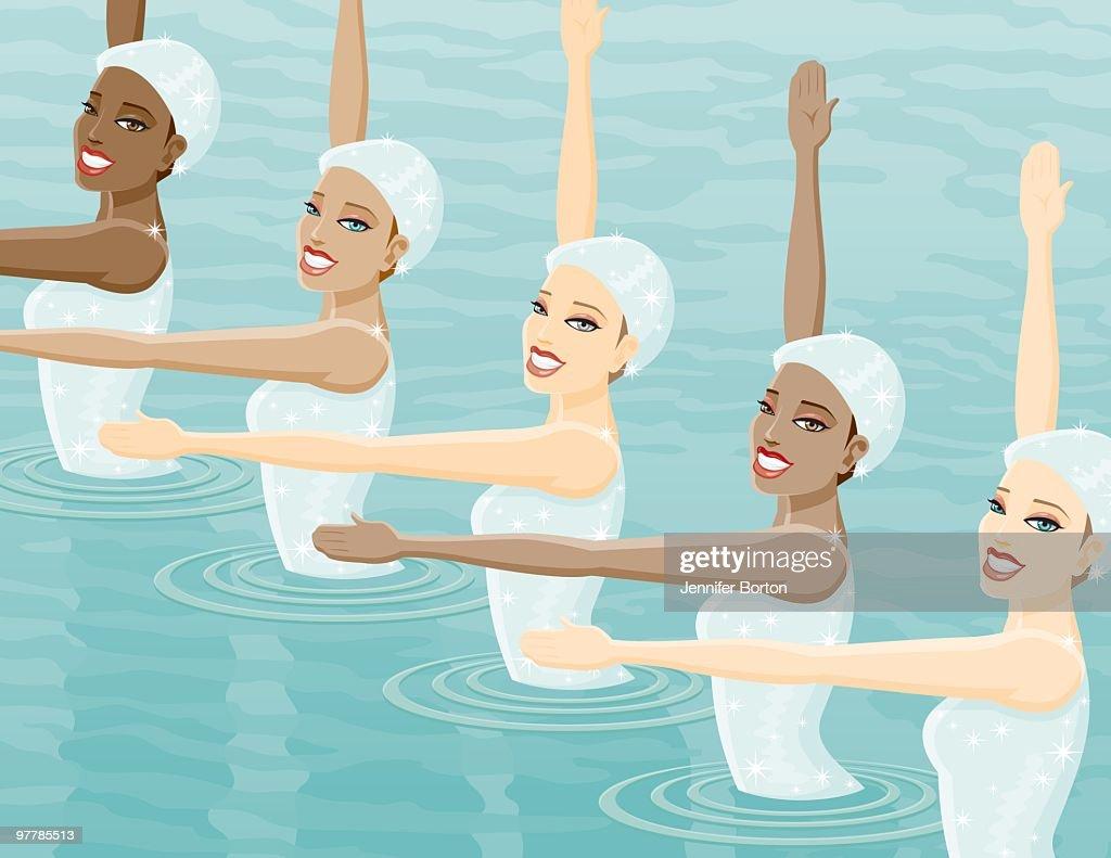Synchronized Swim Team : Vector Art