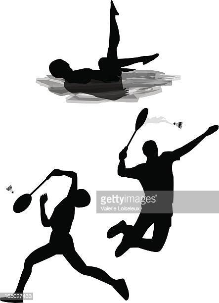synchronized swimming and badminton. - badminton racket stock illustrations, clip art, cartoons, & icons