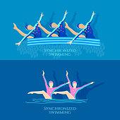 Synchronized swimming banner girls team athletes