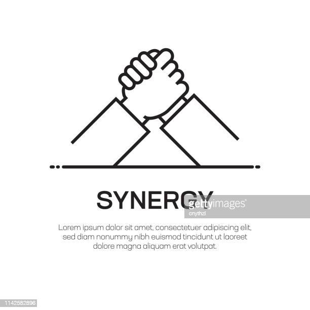 synergy vector line icon - simple thin line icon, premium quality design element - partnership stock illustrations