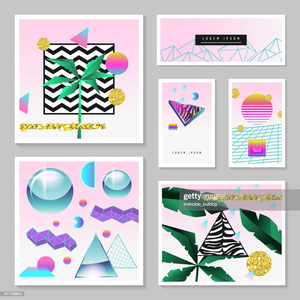 Synth Wave Tropical Poster Set. Futuristic Background with Geometric Elements. Holographic Design for Posters, Banners, Fabric. Vector illustration