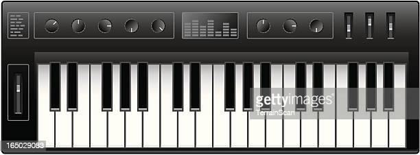 ilustraciones, imágenes clip art, dibujos animados e iconos de stock de teclado sintetizador - tecla de piano