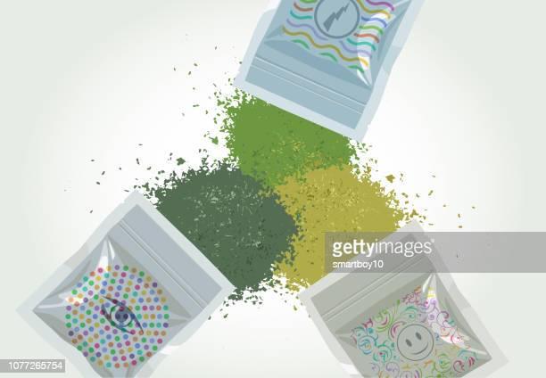 synthetic cannabis or cannabinoid - k2 drug stock illustrations