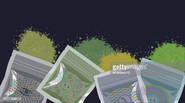 synthetic cannabis or cannabinoid - synthetic marijuana stock illustrations