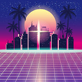 Synthwave Retro Futuristic Landscape With City Palms, Sun, Stars And Styled Laser Grid. Neon Retrowave Design And Elements Sci-fi 80s 90s Space. Vector Illustration Template Isolated Background