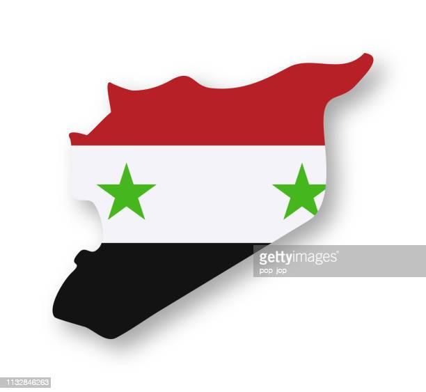 syrien-landfahne vector flat icon - konturzeichnung stock-grafiken, -clipart, -cartoons und -symbole