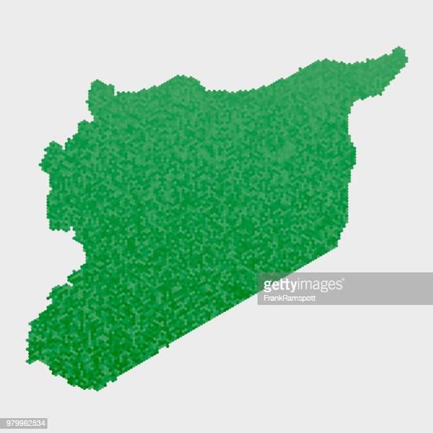 Syrien-Land-Map-grünen Sechseck-Muster