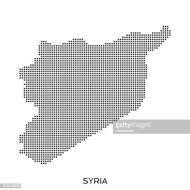 stockillustraties, clipart, cartoons en iconen met syria dot halftone pattern map - syrië