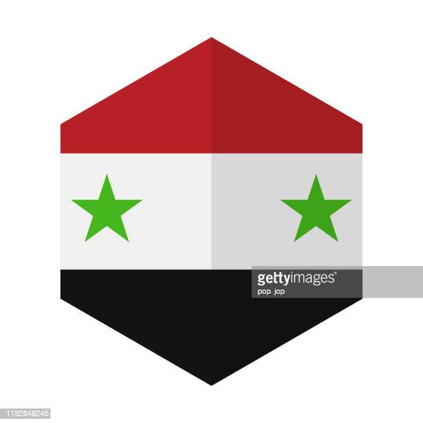 Syrien-Hexagon-Flagge Vector Flat Ikone