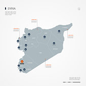 Syria infographic map vector illustration.