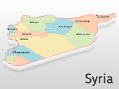 Syria map 3d with main cities and governorates. Volumetric map with cities and roads.