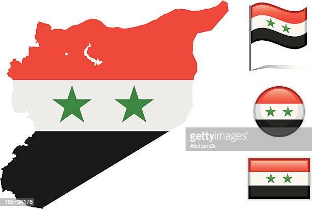Syria map & flag